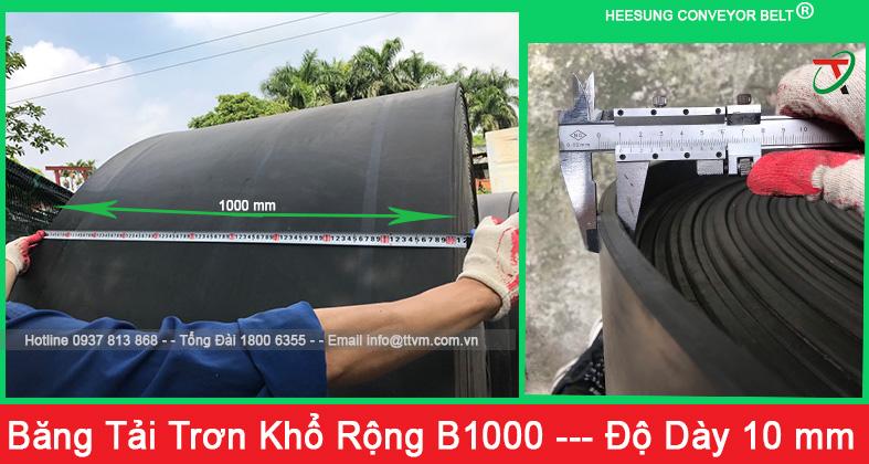 băng tải cao su trơn khổ rộng b1000 độ dày 10mm