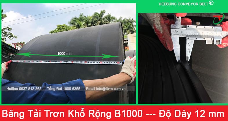 băng tải cao su trơn khổ rộng b1000 độ dày 12mm