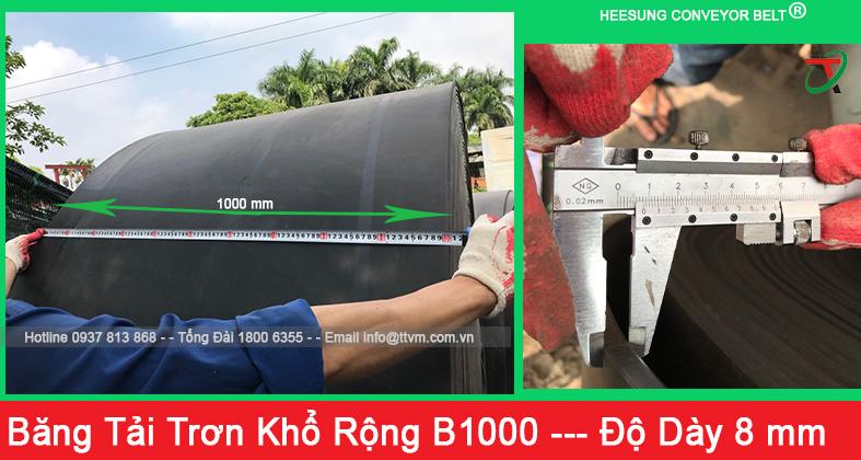 băng tải cao su trơn khổ rộng b1000 độ dày 8mm