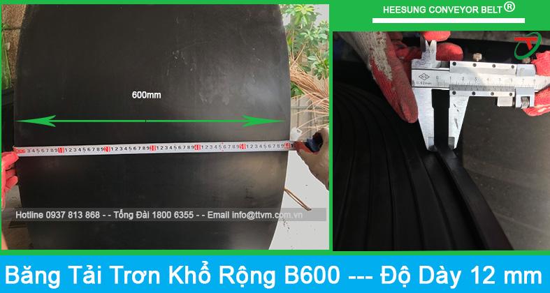 Băng tải cao su trơn khổ rộng b600 độ dày là 12mm