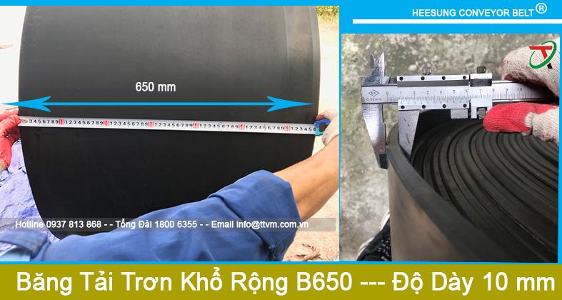 Dây Băng Tải Cao Su Trơn Khổ Rộng B650 độ dày 10mm