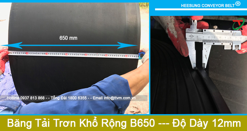 Dây Băng Tải Cao Su Trơn Khổ Rộng B650 độ dày 12mm
