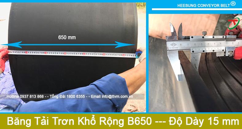 Dây Băng Tải Cao Su Trơn Khổ Rộng B650 độ dày 15mm