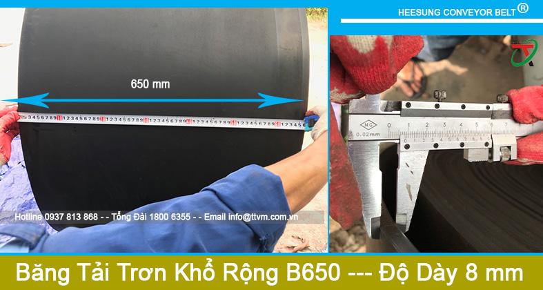 Dây Băng Tải Cao Su Trơn Khổ Rộng B650 độ dày 8mm