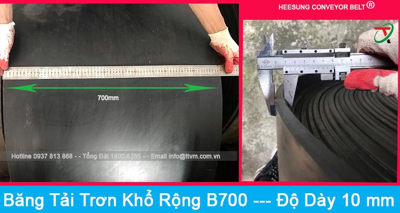 Băng tải cao su trơn khổ rộng b700 độ dày 10mm