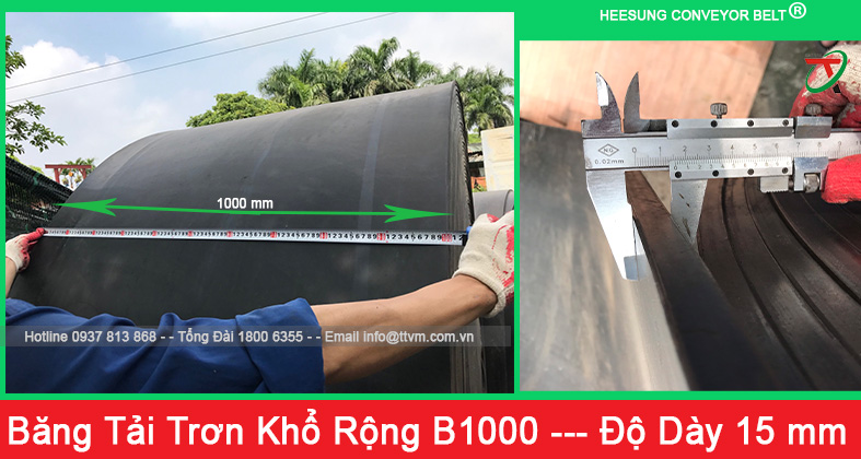 băng tải cao su trơn khổ rộng b1000 độ dày 15mm