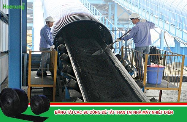 băng tải cao su dùng trong tải than tại nhà máy nhiệt điện