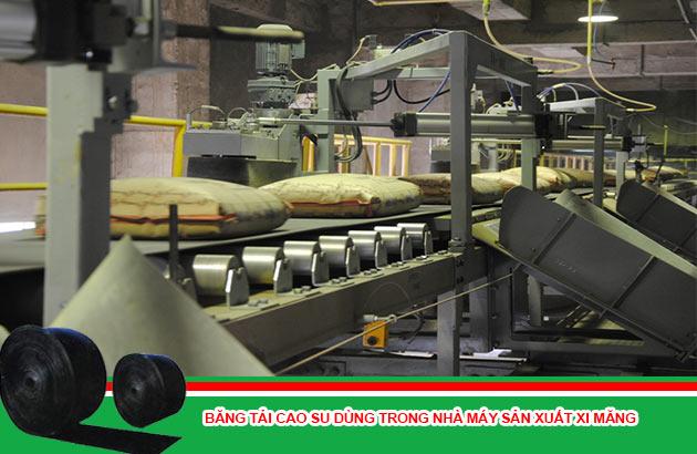 băng tải cao su dùng trong nhà máy sản xuất xi măng